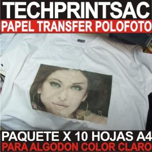 Papel Transfer Algodon Pack X 10 Hojas A4 Tela Clara Polofoto